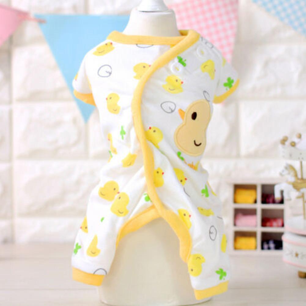 Cute Printing Cotton Pet Dog Four Feets Coat Pajamas yellow_XL