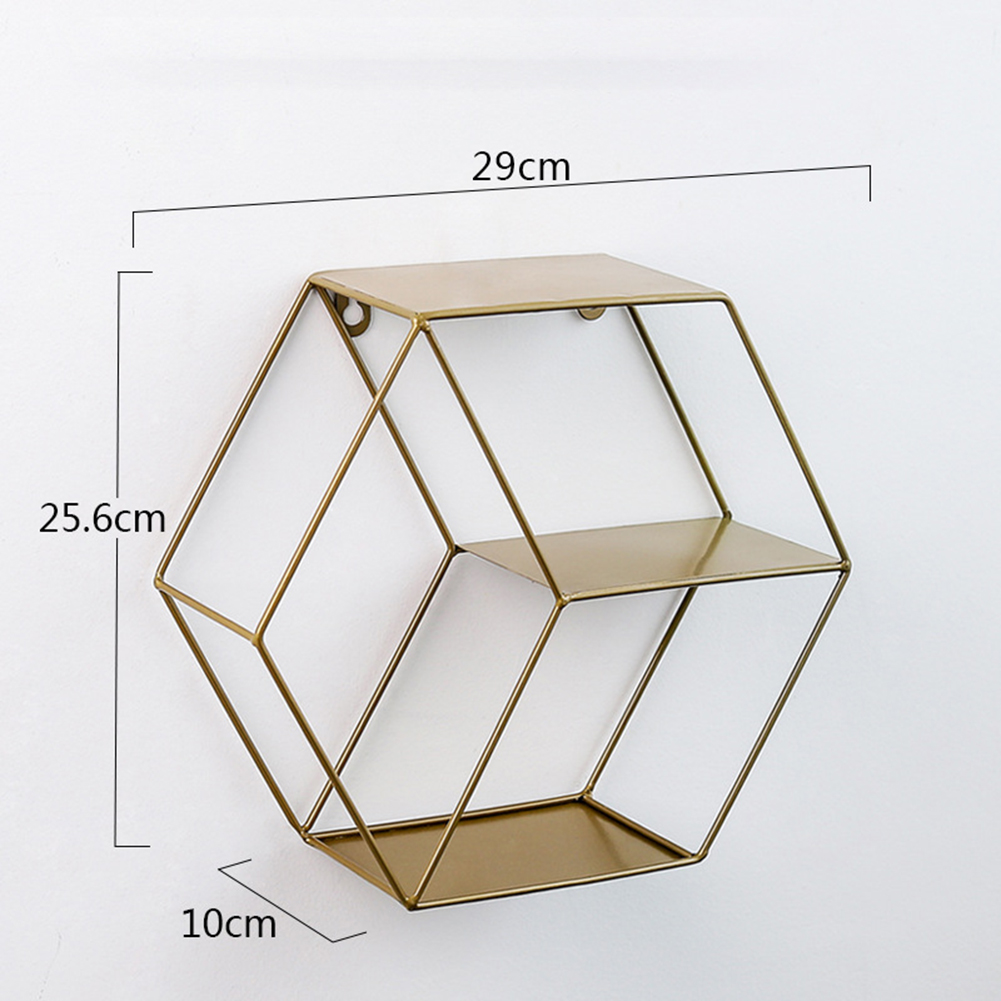 Wall  Mounted Hexagonal Floating Shelves Storage  Shelf For  Wall  Bedroom  Living  Room  Office copper