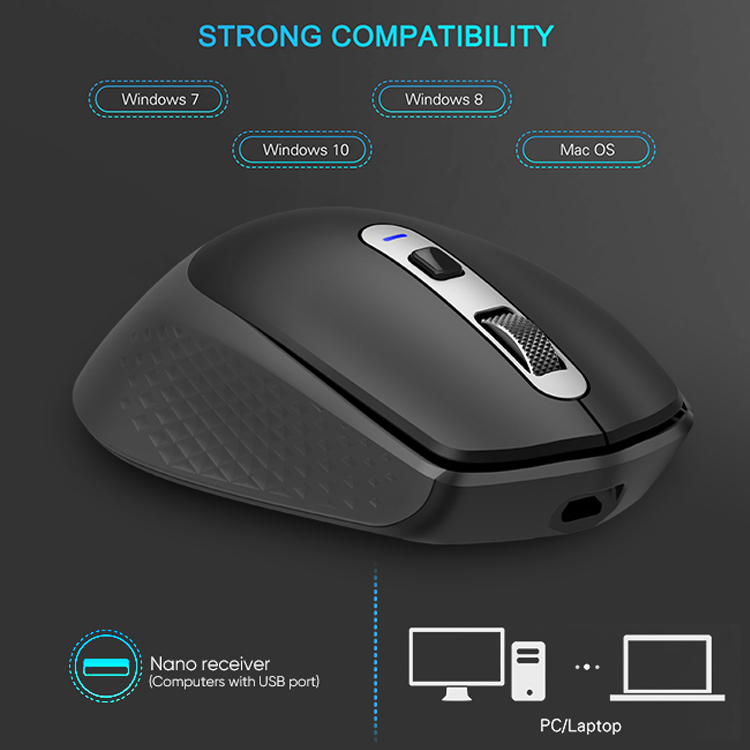 Rechargeable Wireless Optical Mouse Multi-Screen Mouse Multi-Device Switching Copy Mouse black