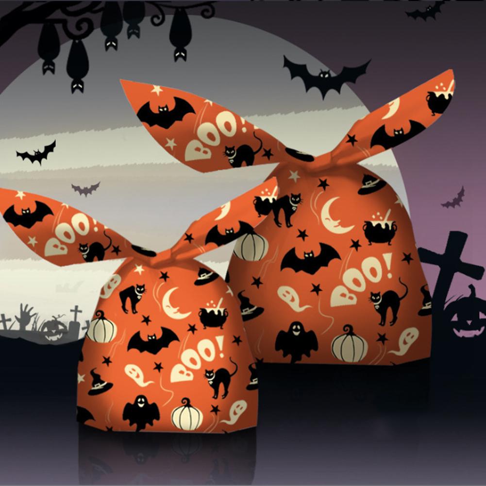 50pcs/set Halloween Rabbit Shaped Candy  Wrap 13*22cm Packaging Bag Set Little Night Beast Series