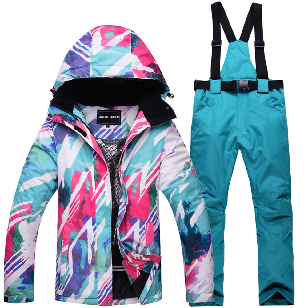 Women Padded Waterproof And Windproof Warm Ski Suit Set Two-piece Jacket Top+ Pants Top + lake blue pants_M