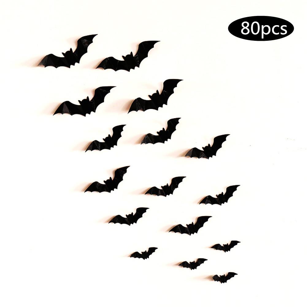 80/160Pcs 3D Horrible Bat Shape Wall Sicker for Home Showcase Halloween Party Decor 80pcs
