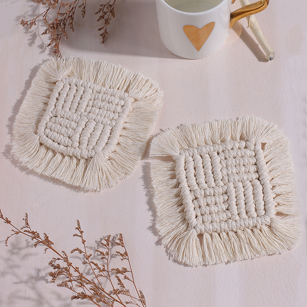 Placemat  With  Tassel Cotton Rope Square Woven Heat Insulation Pad Anti-scalding Tableware c013