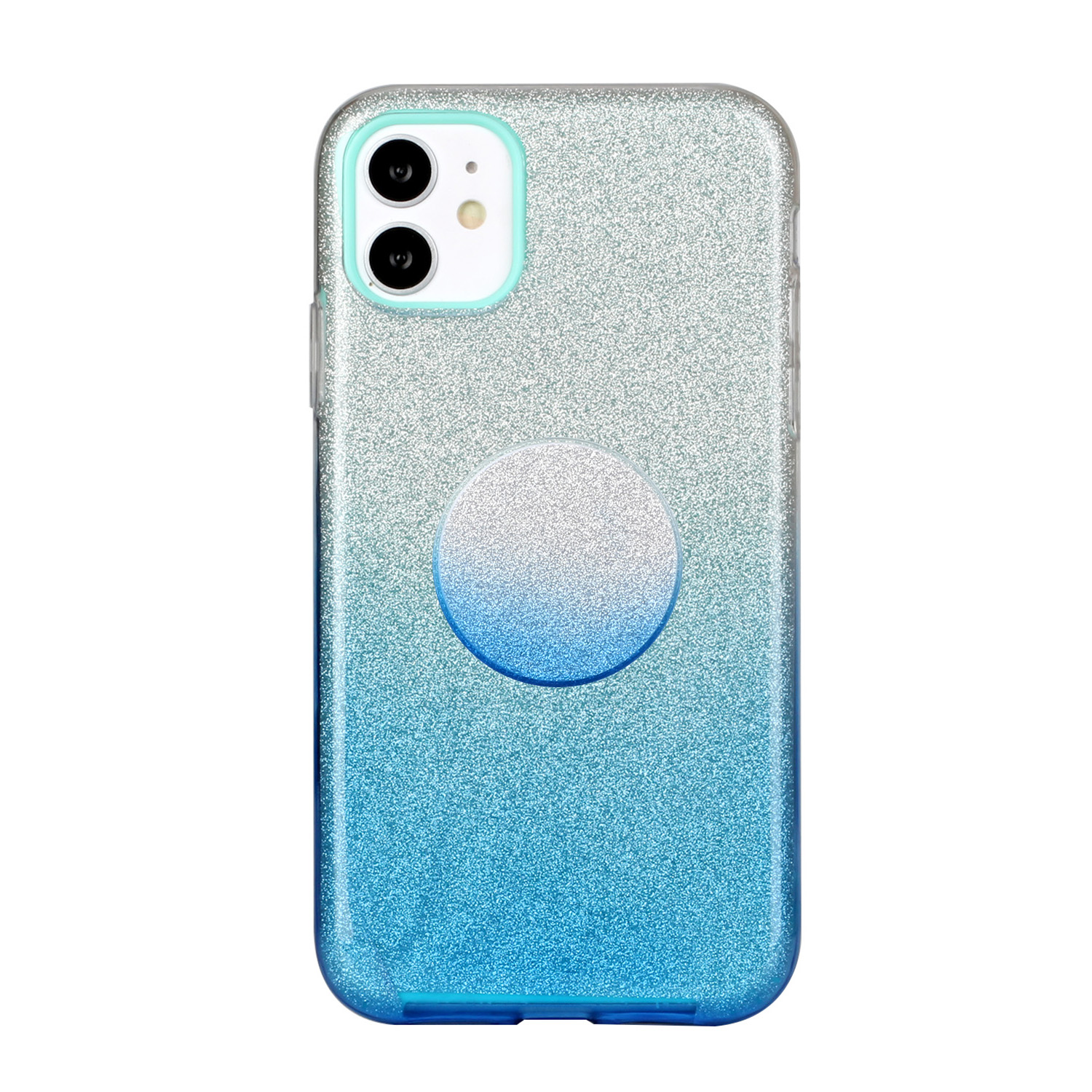 For iphone X/XS/XR/XS MAX/11/11 pro MAX Phone Case Gradient Color Glitter Powder Phone Cover with Airbag Bracket blue