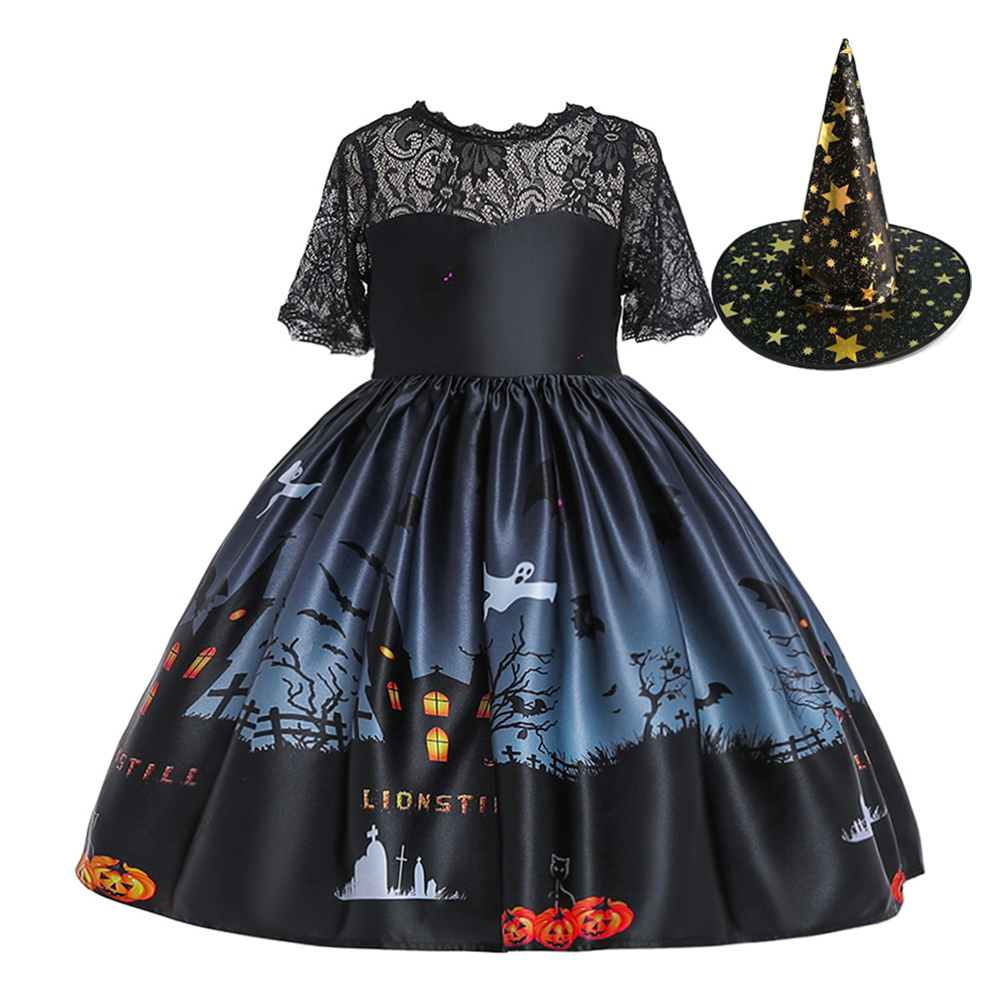 Halloween Princess Dress Lace Tube Top Dress Halloween Ghost Print Kids Dress Set with Hat WS002-black [with hat]_100cm