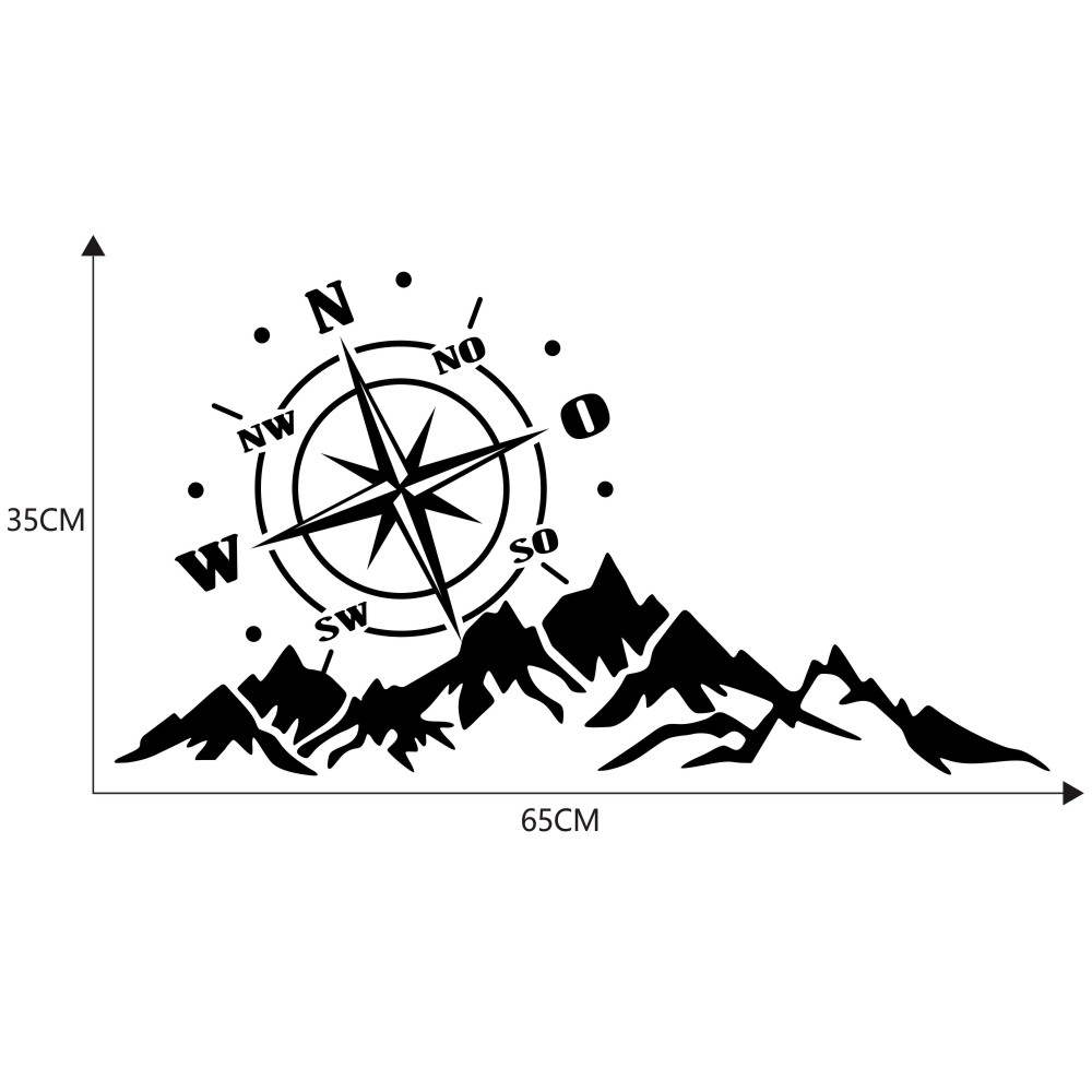 2pcs Vinyl Car Stickers and Decals Mountains Compass Navigation Graphic Sticker Vehicle hood Car Body Sticker black