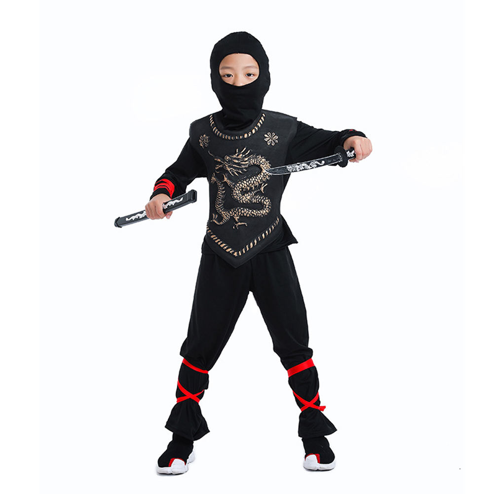 Halloween Naruto Costume Children Cosplay Cartoon Performance Clothing Armored Ninja Gold_L