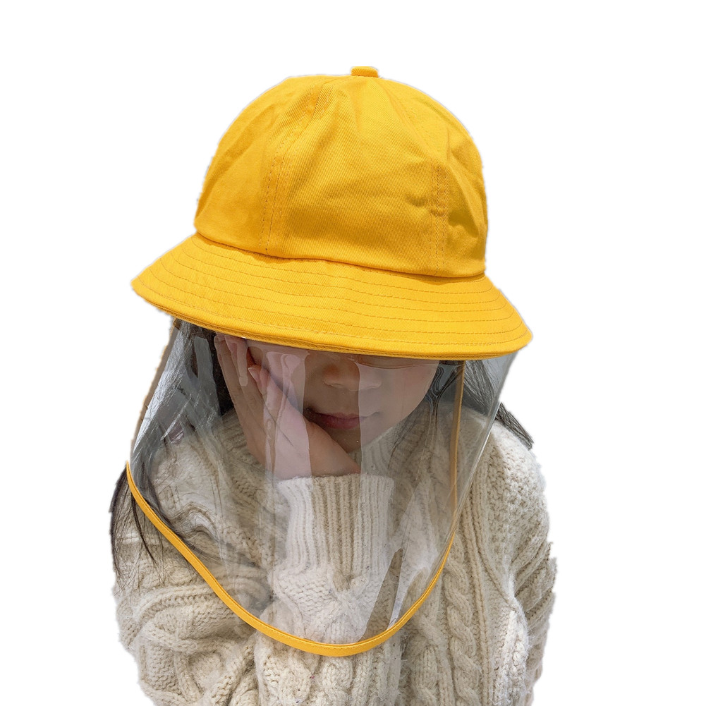 Kids Anti Droplets Yellow Children Protective Hat Cap With Face Guard Sunproof Dustproof Little yellow hat_One size