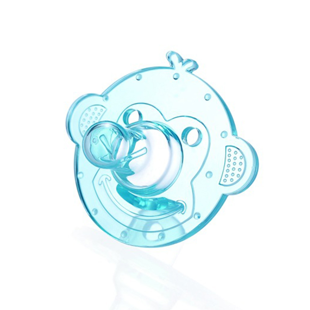 Silicone Pacifiers Baby Cartoon Silicone Teether Pacifiers Newborn Soother Accessories Monkey-blue