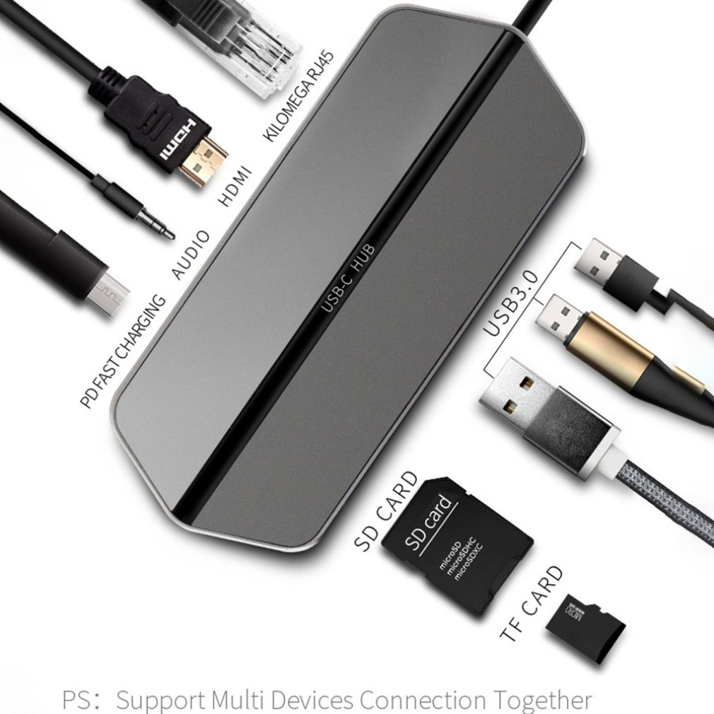 T19 Adapter PD Charger 4K HD SD Card Reader 3 USB 3.0 Ports Type C Docking Station Charger  9 in 1 silver white