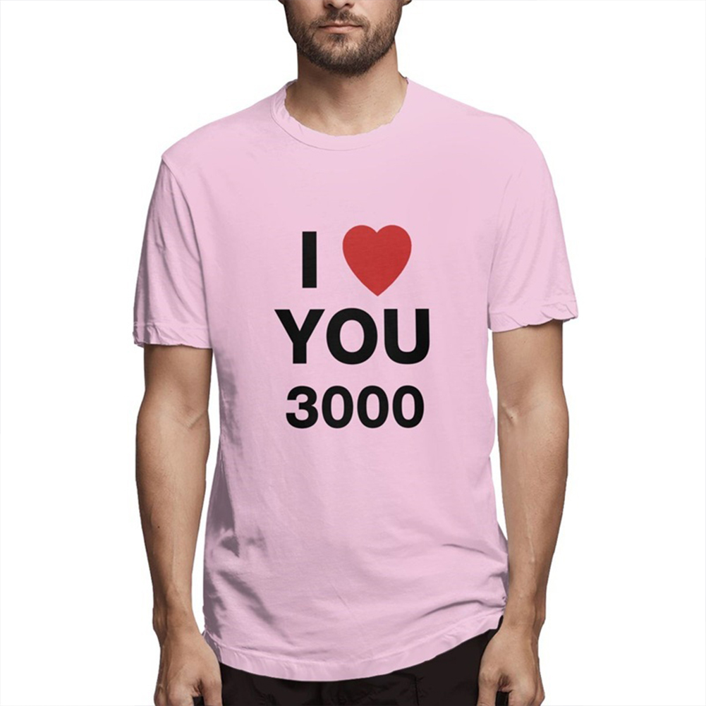 I LOVE YOU 3000 Fashion Letters Printing Unisex Short Sleeve T-shirt A pink_XL