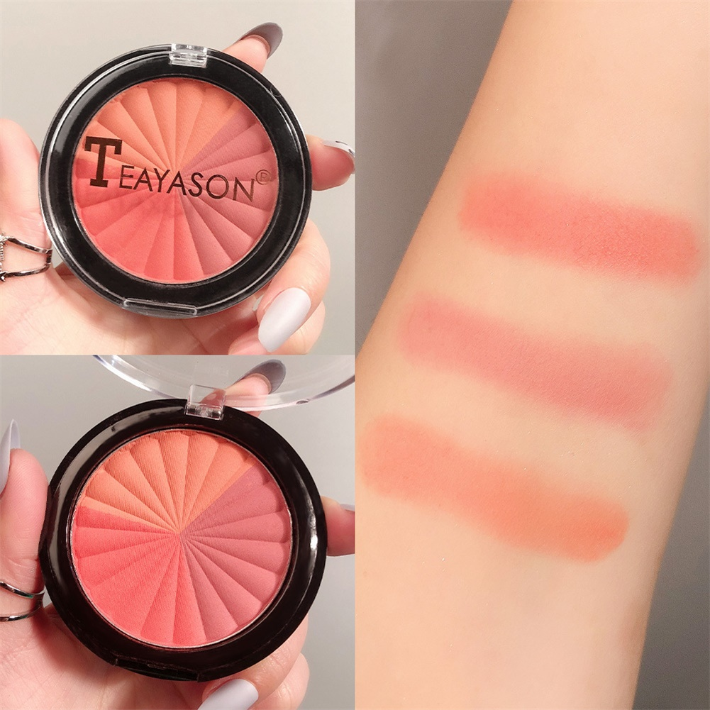 Pressed Blusher Five-color High-gloss Brightening Facial Palette Makeup Cosmetics No. 3 three-color blush