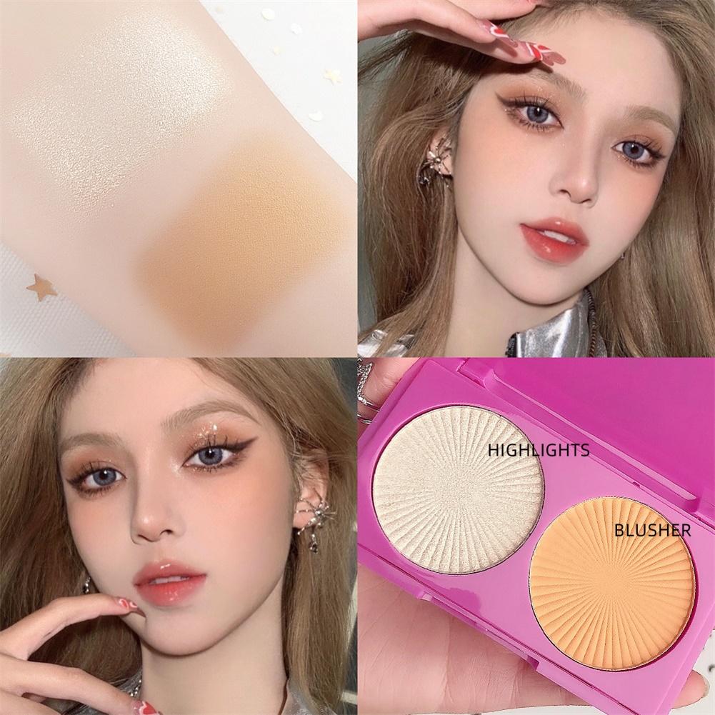 2 Color Highlighter Facial Bronzers Palette Face Brighten Glitter Face Contour Shimmer Powder No. 1 highlight + blush