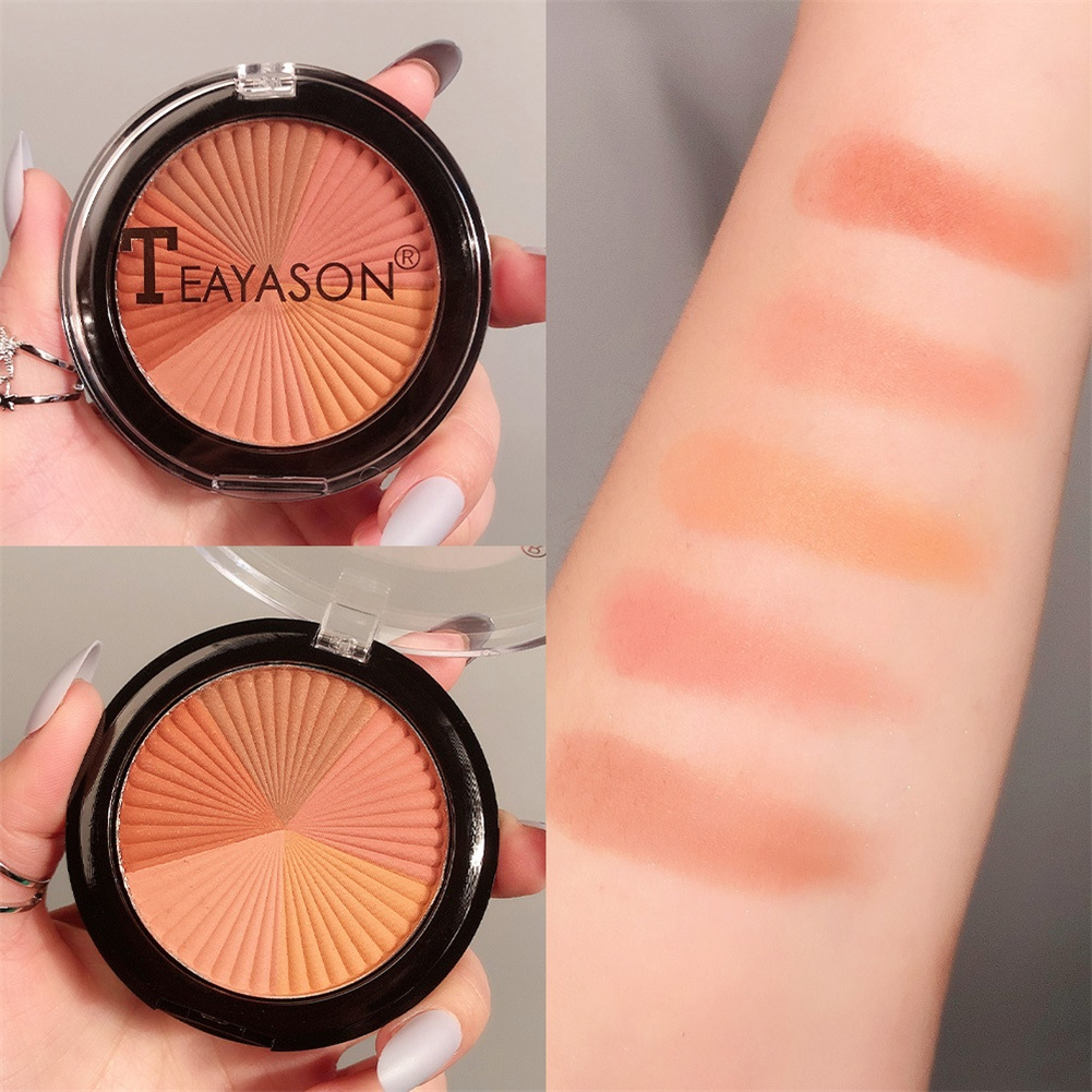 Pressed Blusher Five-color High-gloss Brightening Facial Palette Makeup Cosmetics No. 2 five-color blush