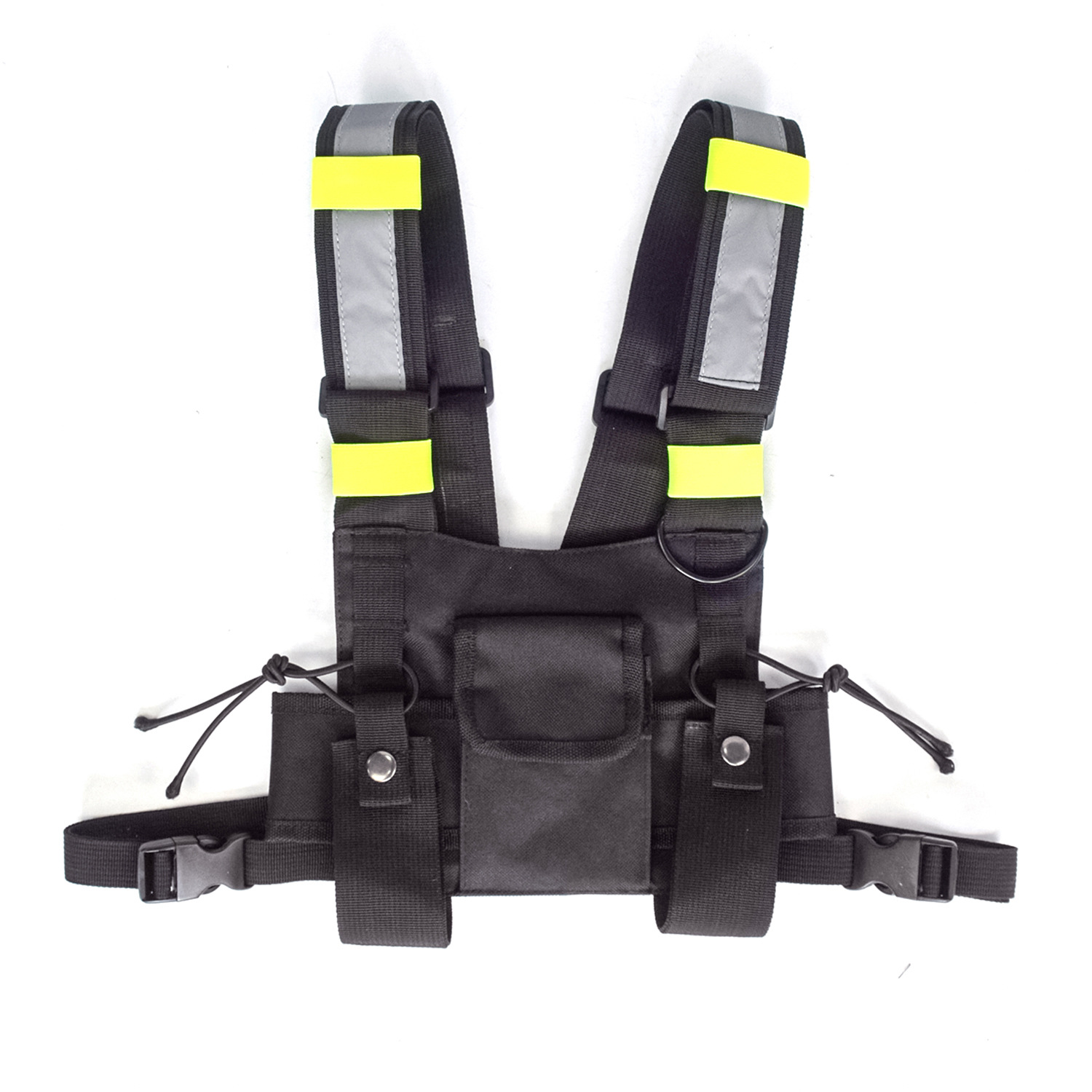 Adjustable Black Vest with  Reflective Stripes Chest Rig Bag for Outdoor Training With reflective strip_One size (adjustable)
