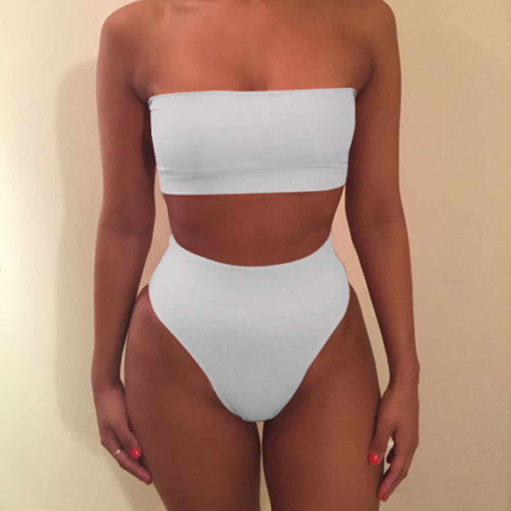 Bathing Suit Boob Tube Top + Underwear Sexy High-waisted Split Bikini Sexy Underwear white_XL