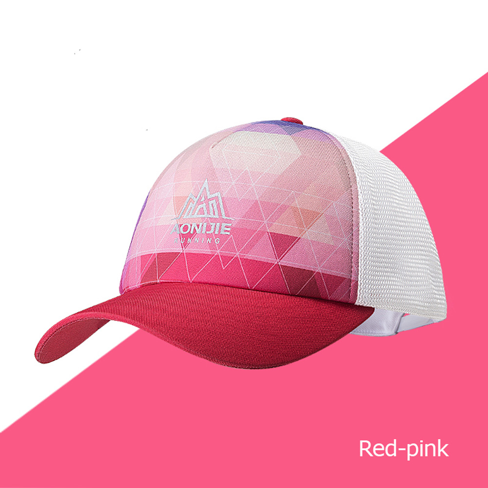 Men Women Sports Adjustable Sun Visor Baseball Cap Trucker Hat Mesh Back For Running Hiking Marathon Trail Red pink_Free size