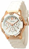 Yesfashion Women`s White Rose Gold Chronograph Silicone watch