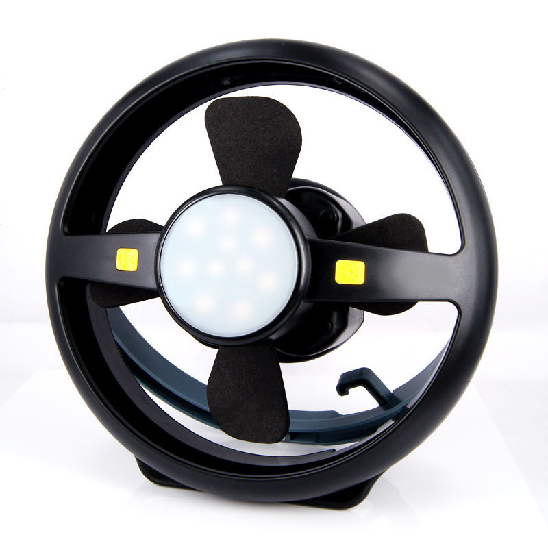 90Lumens 2 Speed Modes Adjustale LED Camping Fan Lamp with USB Charging Line black_10 inches