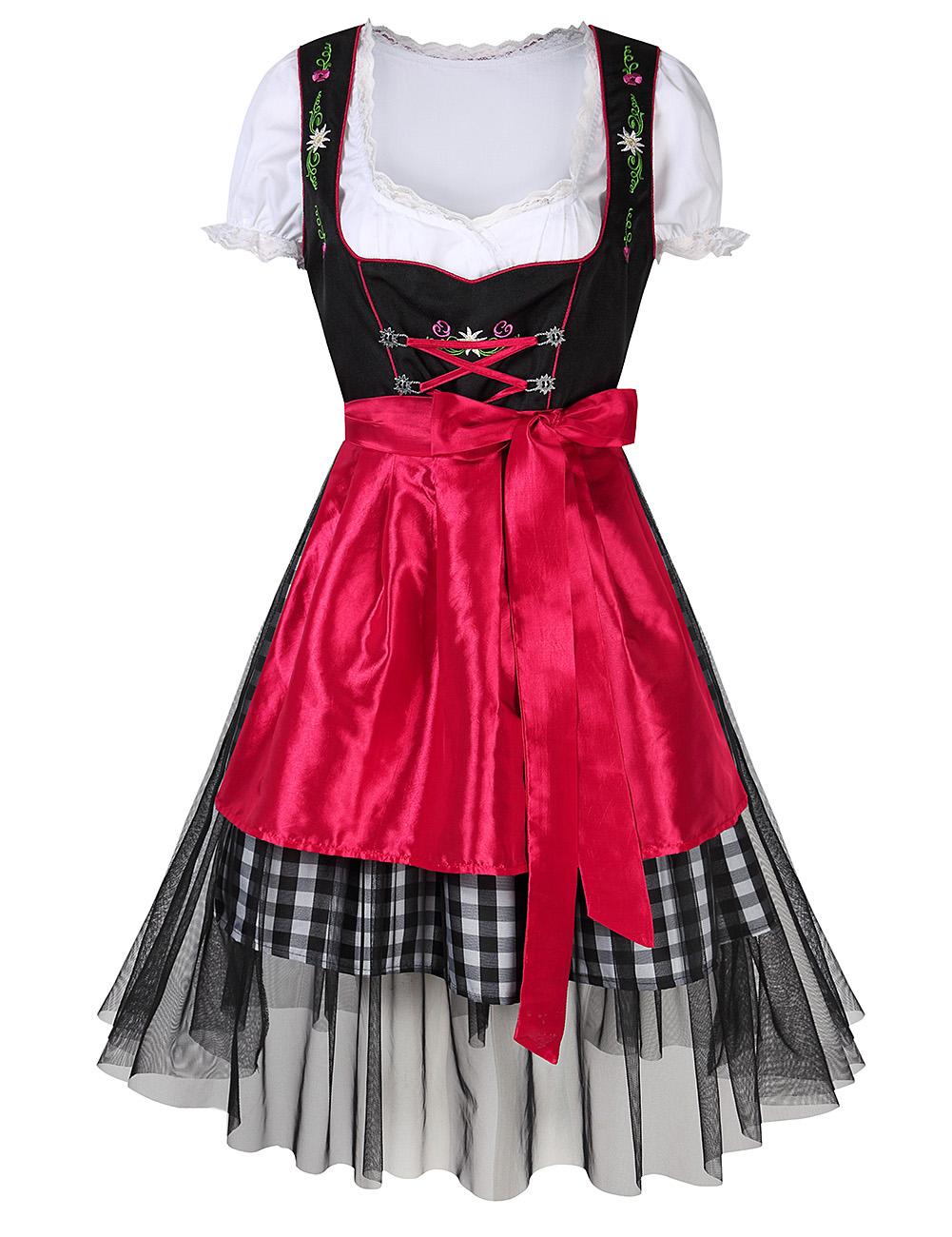 Women's Oktoberfest Plaid Mesh Stitching Embroidery A Line Formal Dresses Suit