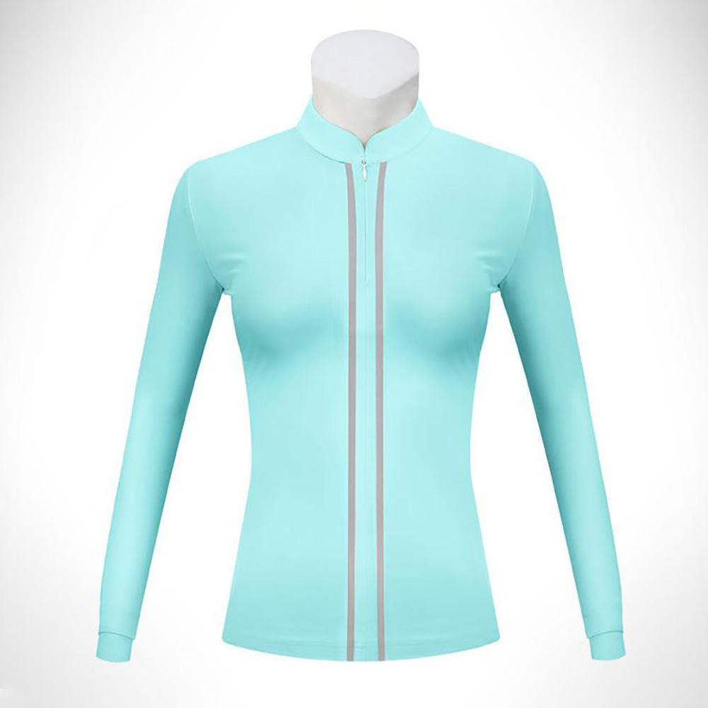 Golf Clothes Women Long Sleeve T-shirt Autumn Winter Warm Stand Collar Golf Suit YF205 blue_M
