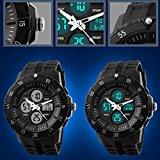 SKMEI Men`s Sporty Dual Time Zones Alarm Timer Wrist Watch - White