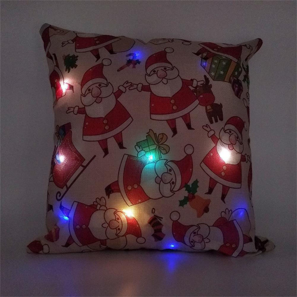Christmas Cushion Cover with LED Lights Shining Linen Cushion Cover for Sofa Home Decoration(without Pillow Inner)