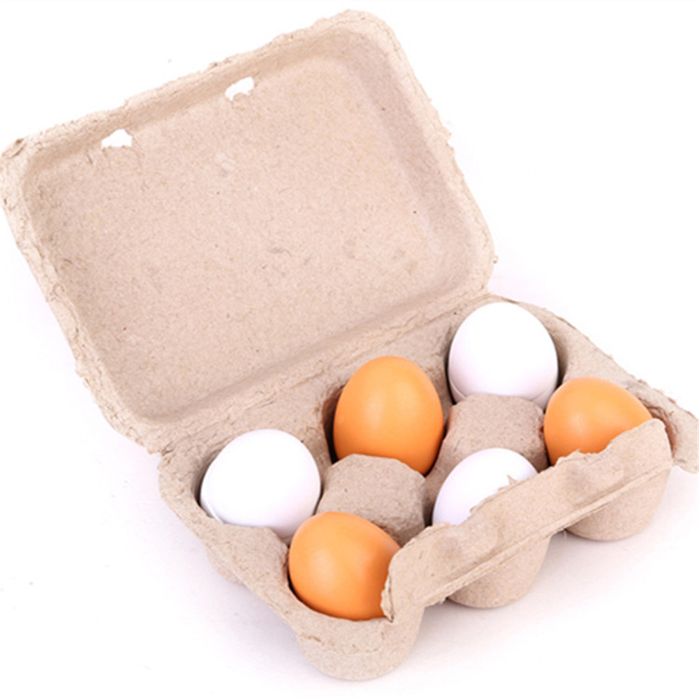 Kids Wood Simulation Egg Blocks with Box Pretend Play House Kitchen Food Toy default_6PCS