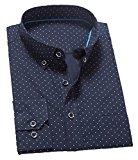 [US Direct] Men's Slim Fit Long Sleeve Button Down Shirts Black XS