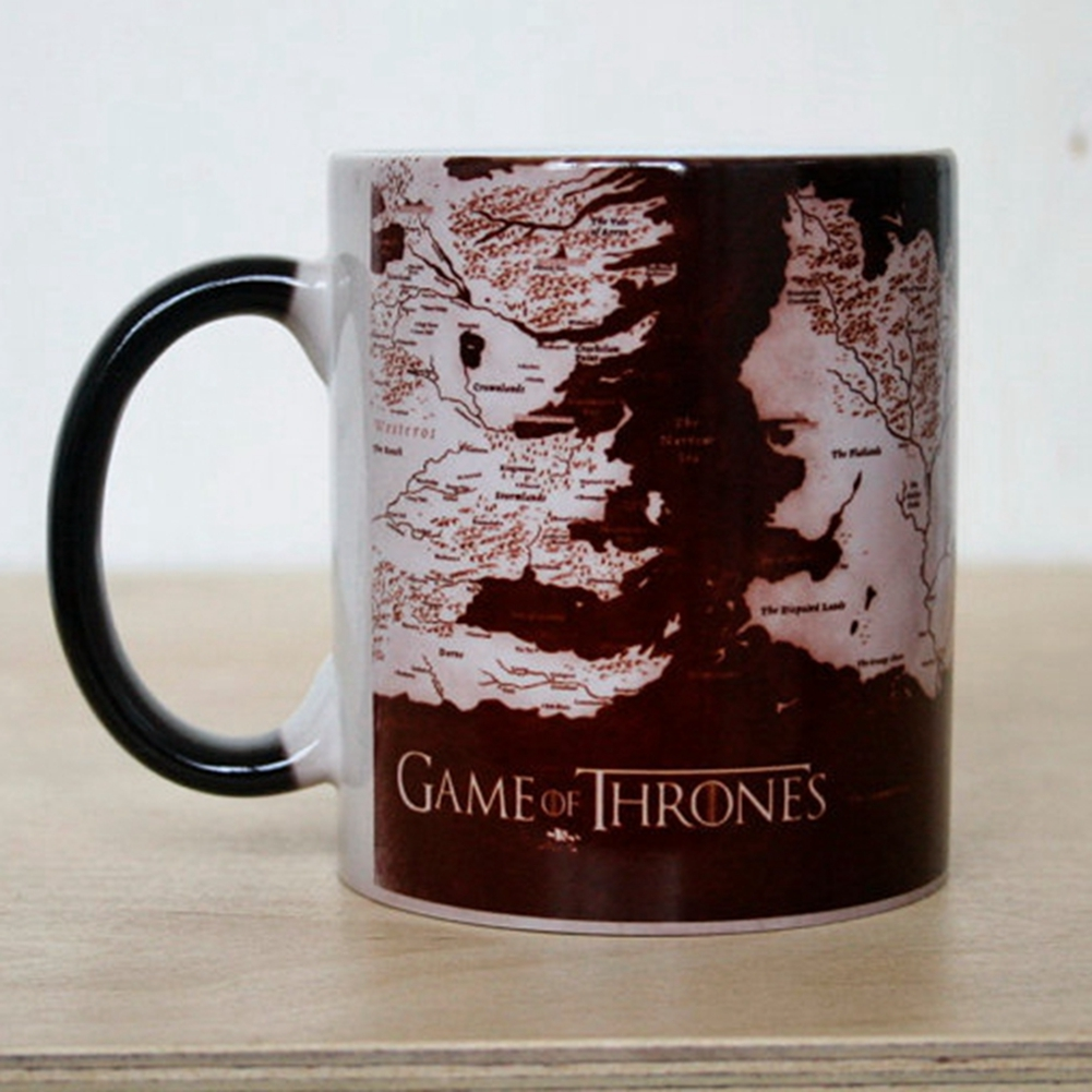 [US Direct] Game of Thrones Map Mug Heat Sensitive Color Changing Coffee Tea Mug Ceramic Mug
