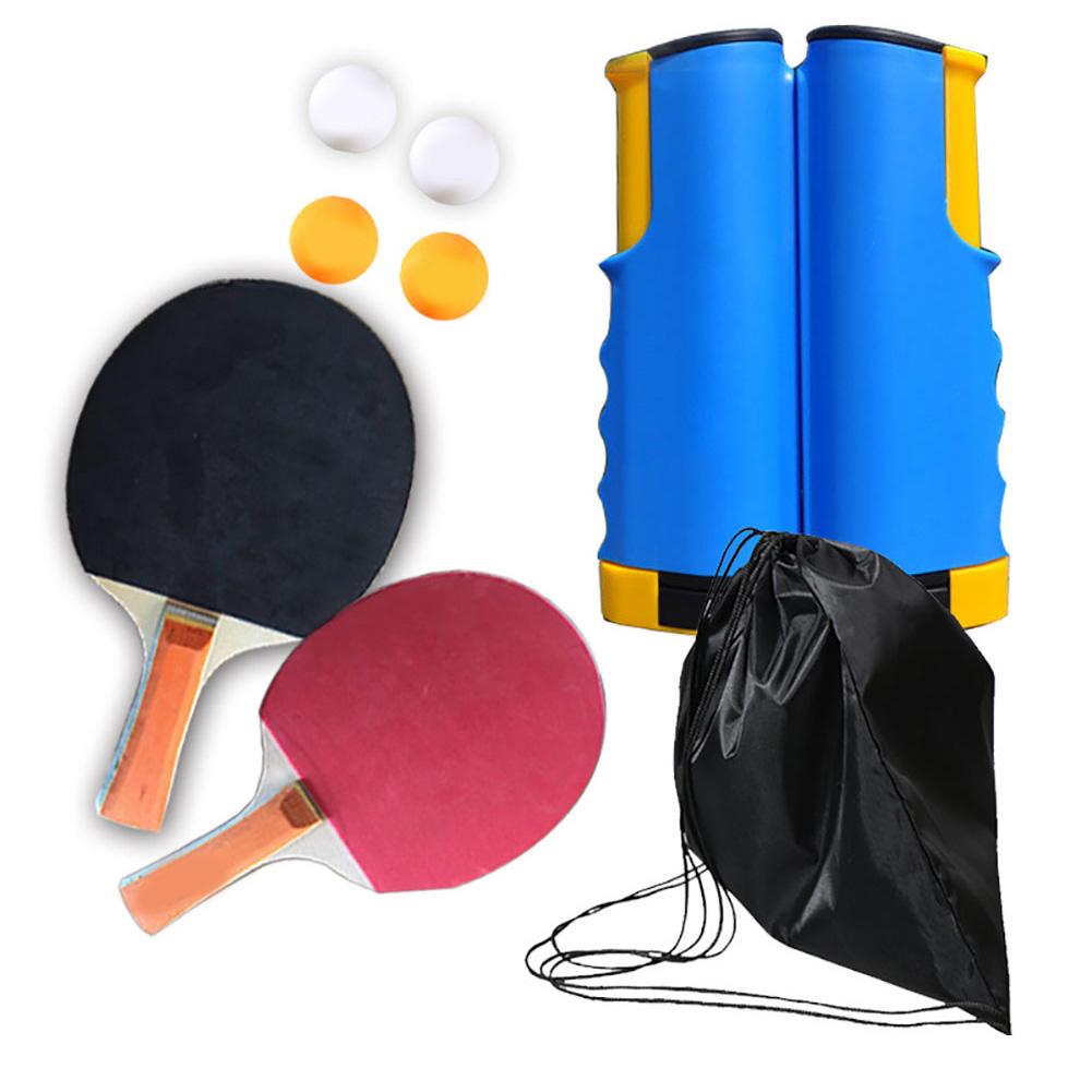 Regail Table Tennis Racket Set Portable Table Tennis Racket Telescopic Rack Set 4 Table Tennis PT-260 blue and yellow net rack set