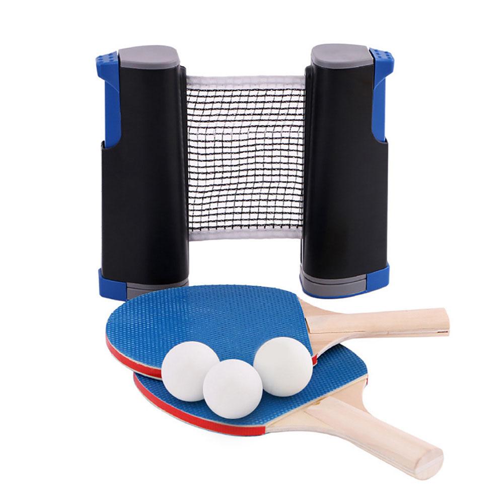 Table Tennis Racket Set Portable Table Tennis Racket Telescopic Rack Set Black and blue PT-270