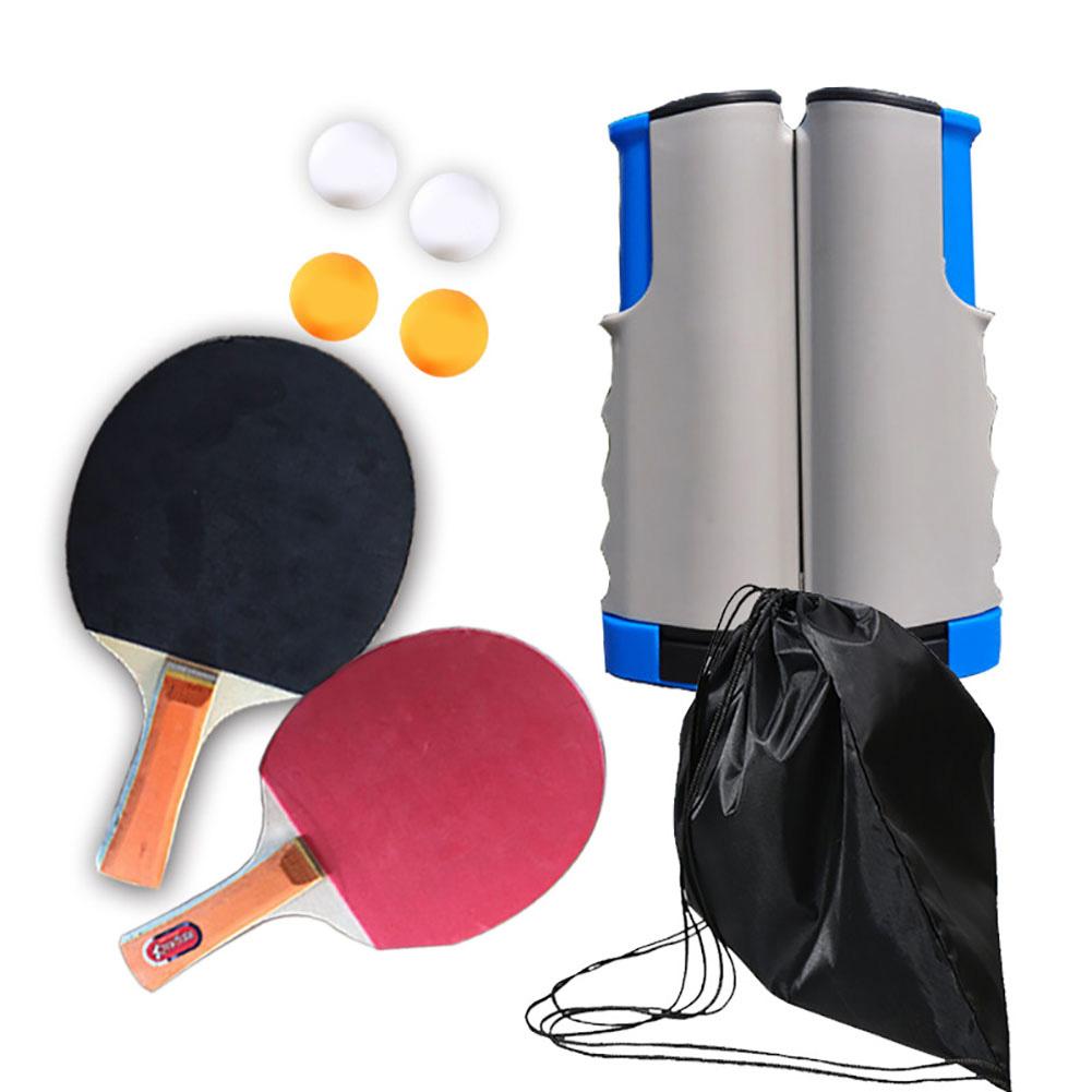 Regail Table Tennis Racket Set Portable Table Tennis Racket Telescopic Rack Set 4 Table Tennis PT-260 Gray Blue Net Frame Set