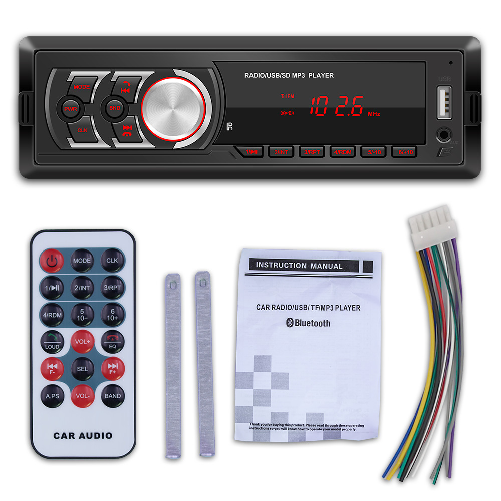 12V Support USB Disk Bluetooth 4.0 Auto AUX In Handsfree Calls Detachable Panel Car MP3 Player Vintage FM Radio Lossless Music black