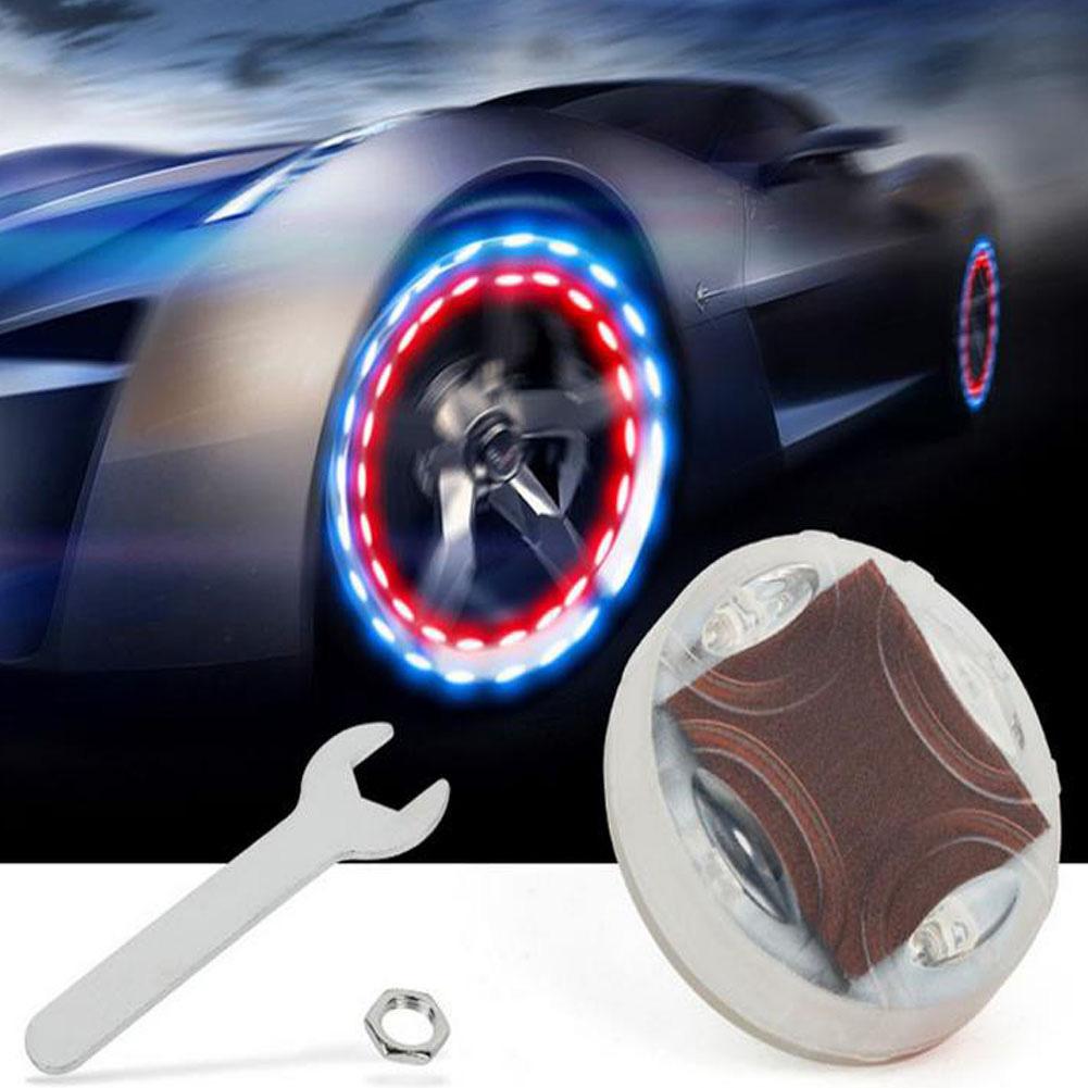 Car Air Vavle Light Auto Wheel Hub Tire Solar Colorful LED Decorative Light Solar Energy Flash Lamp white
