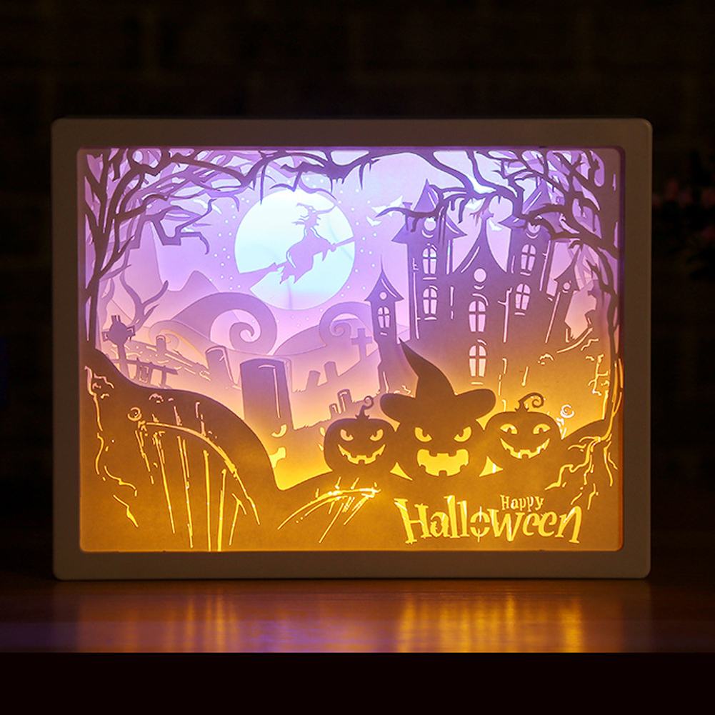 3D Paper Carving Night Lights Battery Power Supply LED Table Lamp Christmas Halloween Carved Decor Lamp Birthday Gifts Halloween party