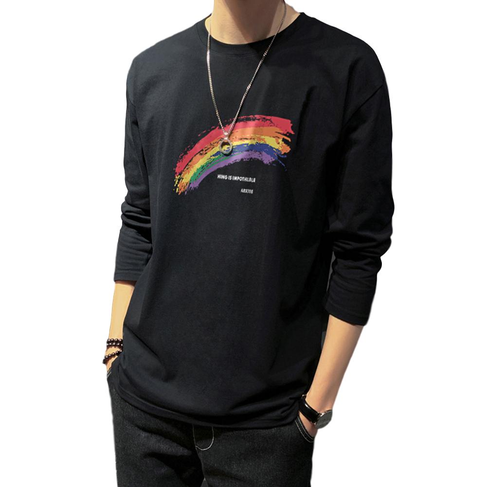 Men's T-shirt Autumn Long-sleeve Thin Loose Rainbow-printing Bottoming Shirt black_4XL