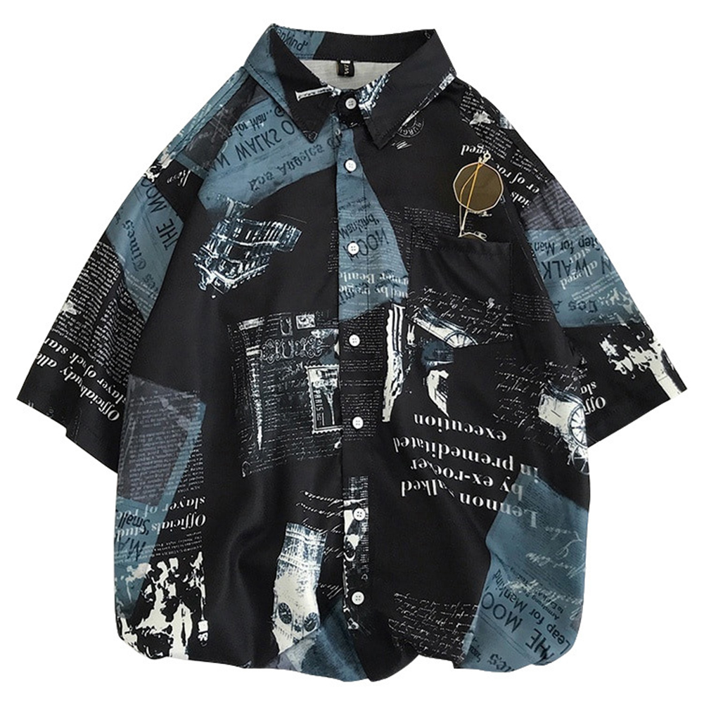 Men's Leisure Shirt Loose Summer Stand-up Collar Printing Short-sleeve Shirts Black_XL (175 height/65 kg)