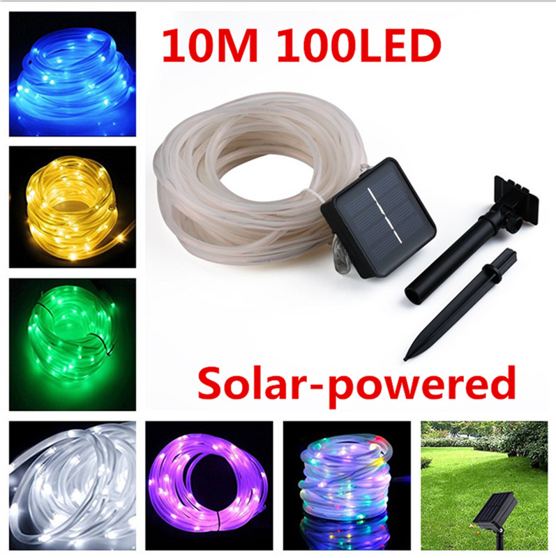 10M 100LED Waterproof Solar-powered Pipe String Lights Garden Yard Home Party Decoration Colorful
