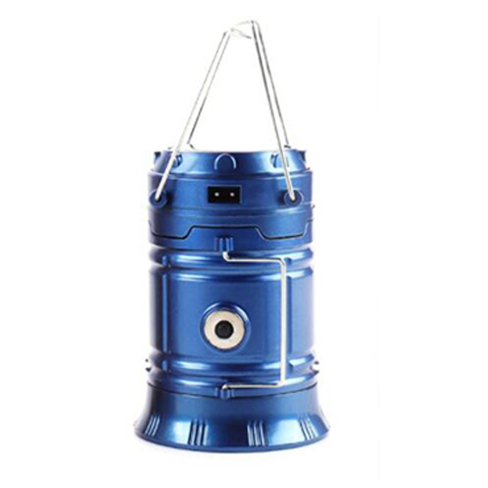 Rechargeable Solar Camping Lantern Portable Camping Lanterns Outdoor Tent Light Lamp Blue