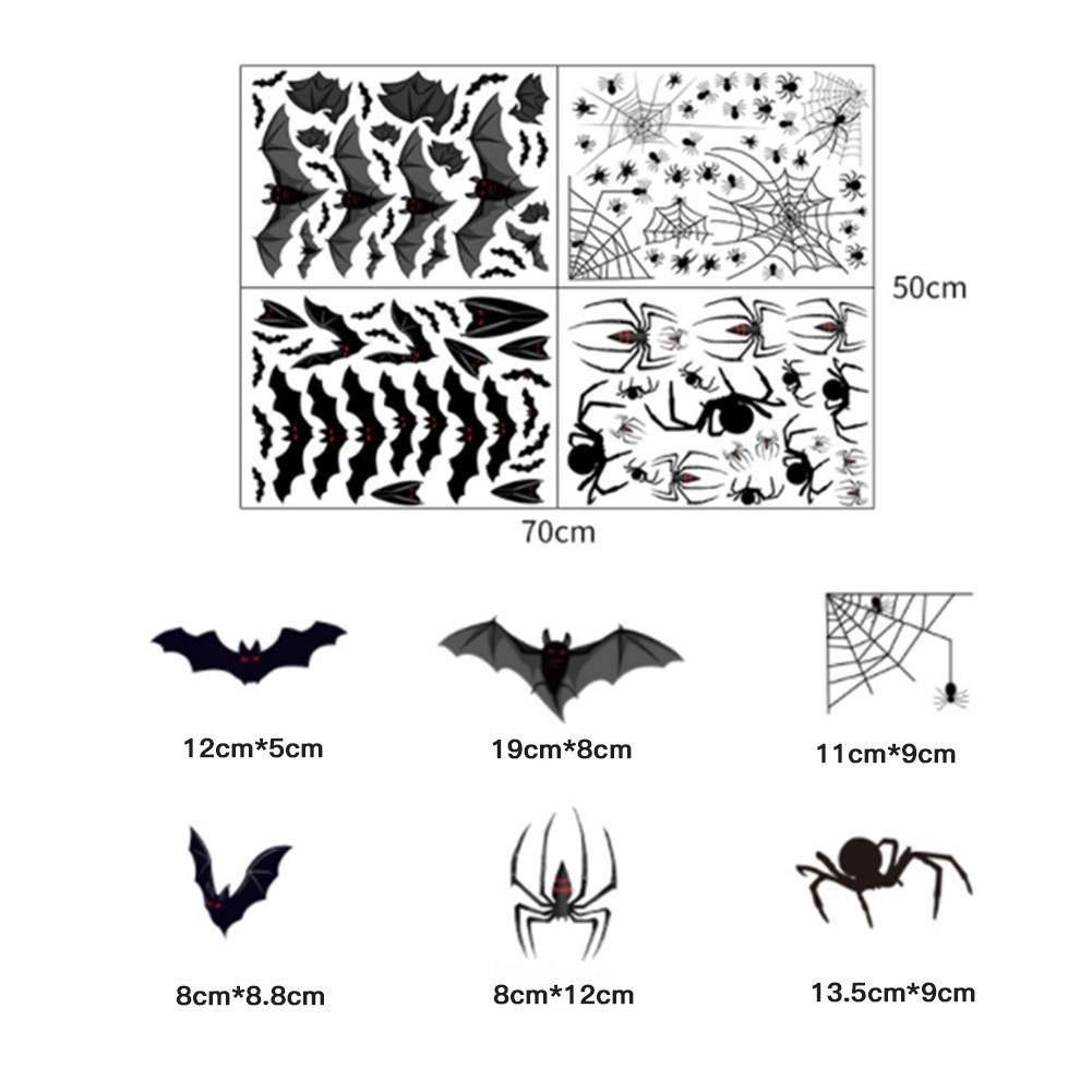 Halloween Spider Bat Pattern Electrostatic Film Wall Stickers for Window Glass Background Restaurant Decoration 50cm*70cm