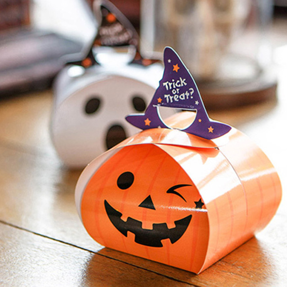 20Pcs Halloween Candy Box Trick or Treat Ghost/Pumpkin Candy Box for Cookies Cake Decorations Party Supplies Orange