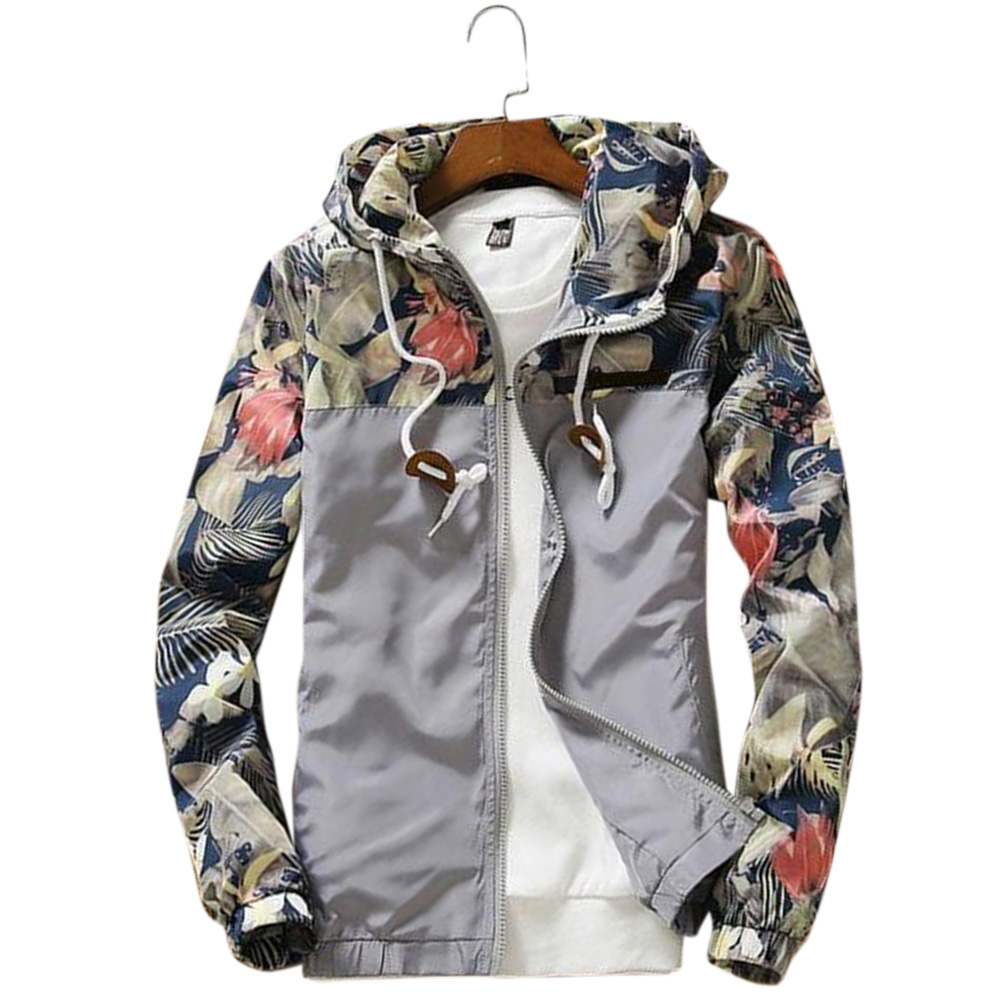 Men Simple Casual Loose Hooded Jacket Camouflage Print Stitching Coat Tops  gray_M