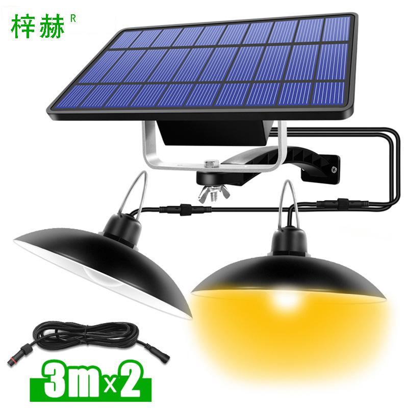 2 in 1 Garden Solar Light Retro Bulb Chandelier Solar Powered Pendant Lights for Hanging Lighting Black Shell