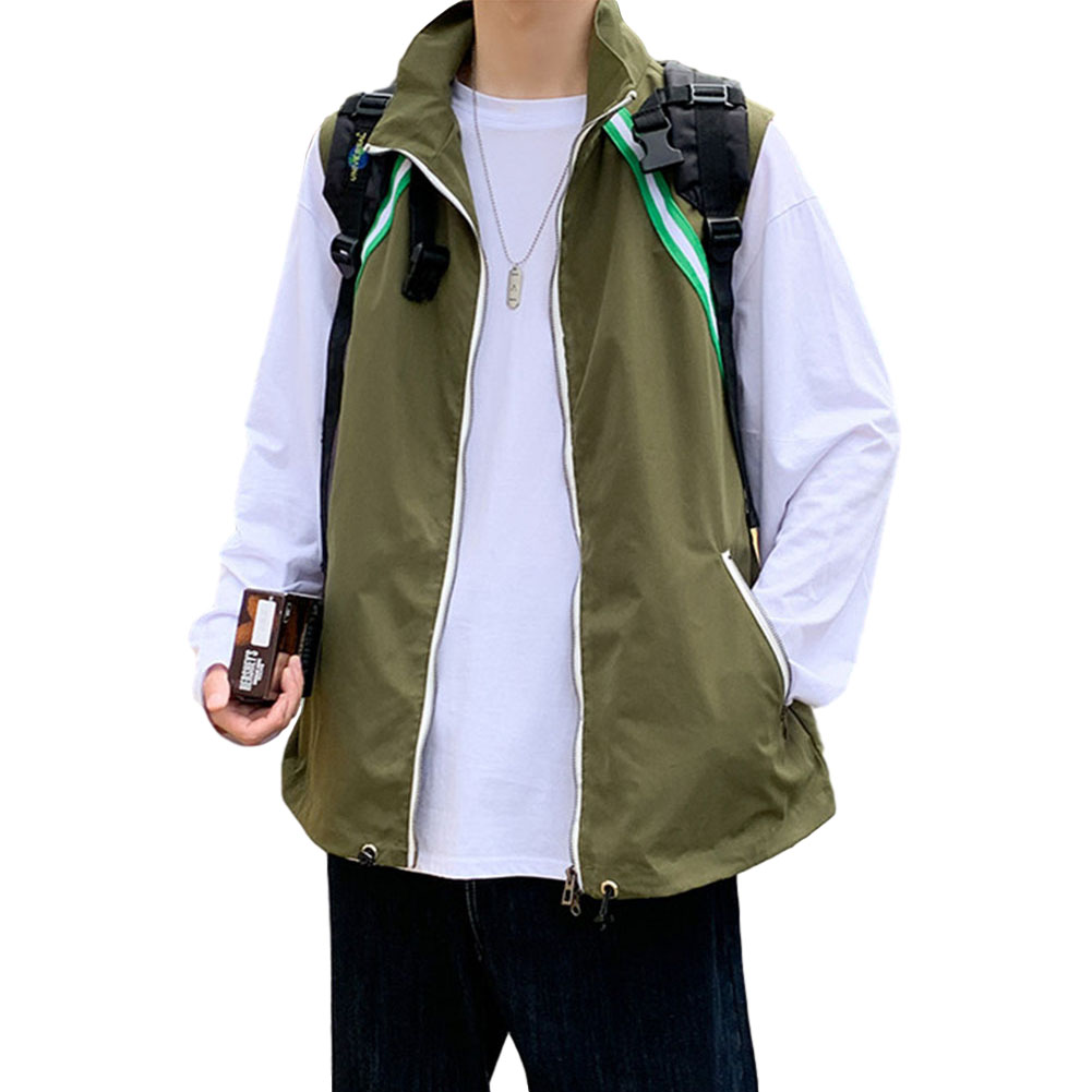 Men's Vest Autumn Loose Color Matching Large Size Casual Waistcoat Vest olive green _L