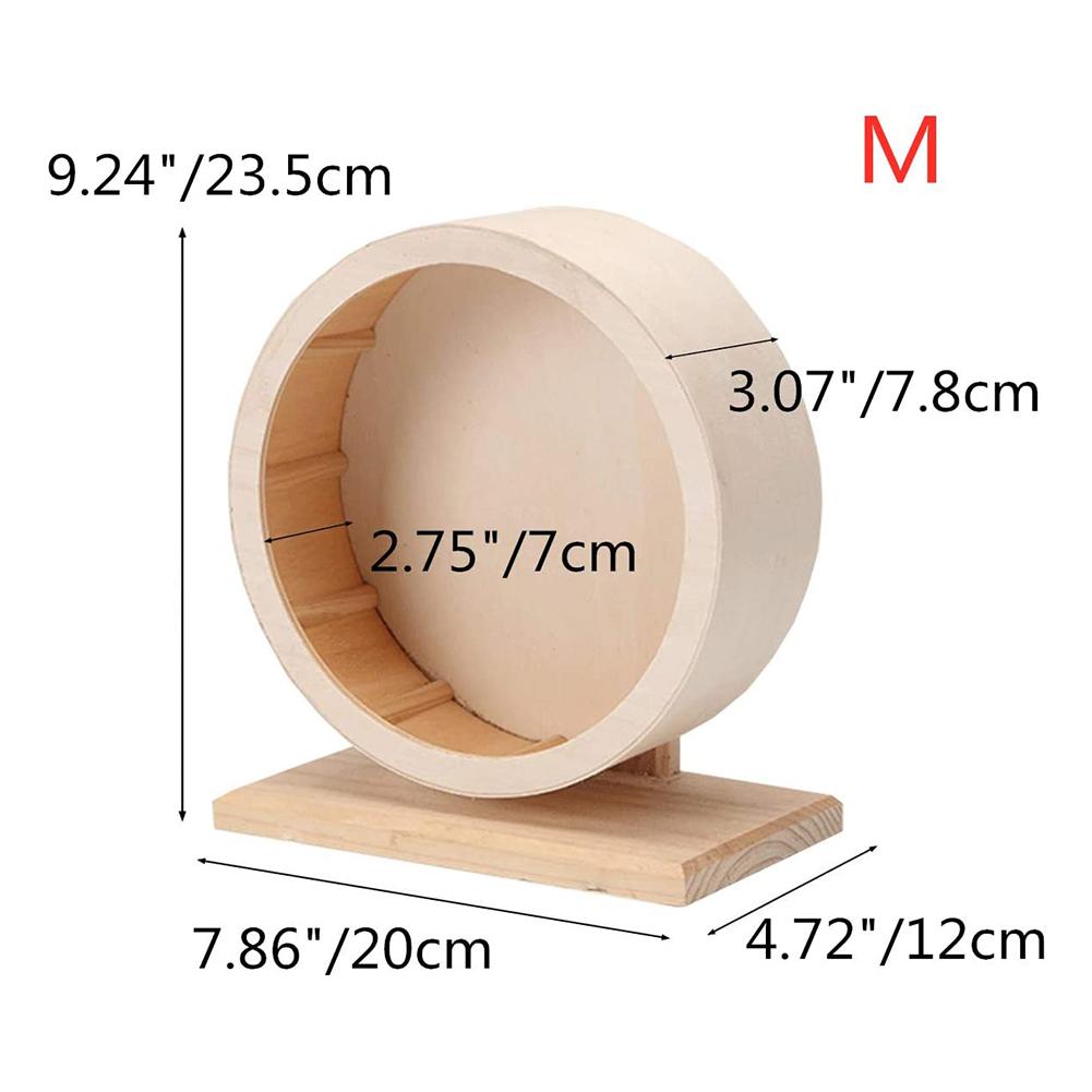Pets Exercise Wheel Hamster Wooden Mute Running Spinner Wheel Toy for Rat Gerbil Mice Chinchillas Medium diameter 21cm