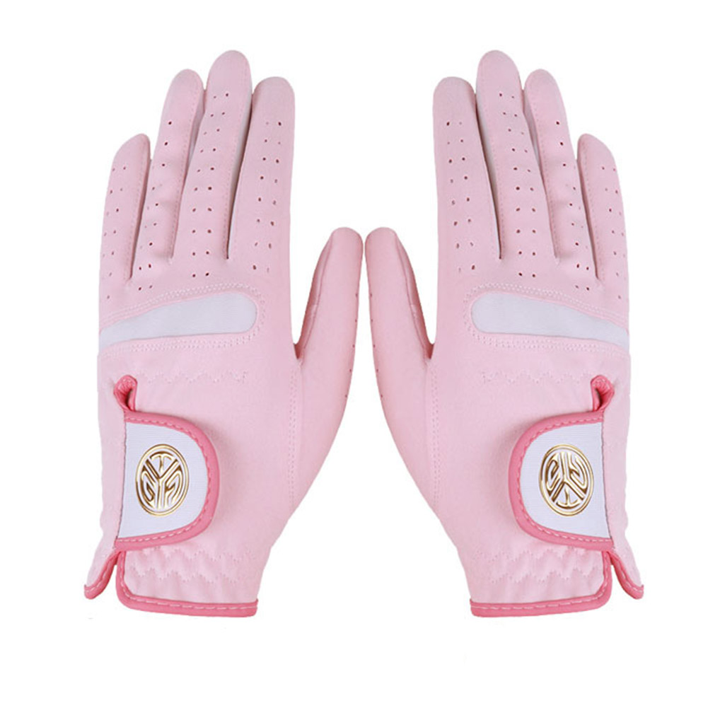 1 Pair Of Women's Golf  Gloves Microfiber Cloth Sunscreen Breathable Wear-resistant Washable Golf Gloves Pink_21 yards