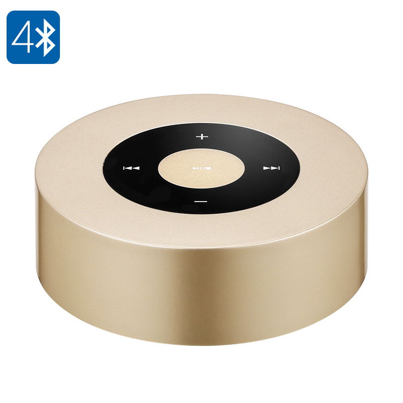 A8L Bluetooth Speaker - 3Watt, 1000mAh Battery, Hand Free, Micro SD Card Slot, Bluetooth 4.0 (Gold)