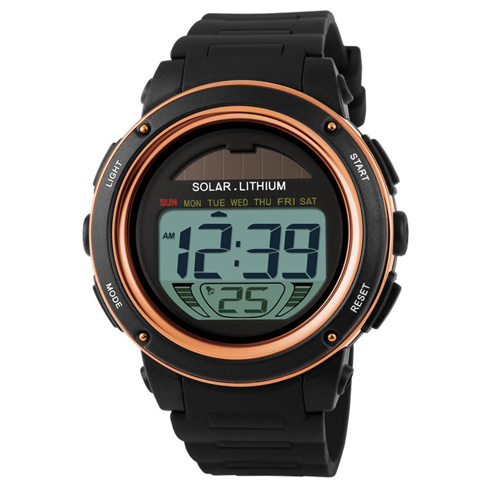 Men Stylish Solar-powered Electronic Luminous Watch Waterproof Sport Wristwatch Ornament Gift Golden