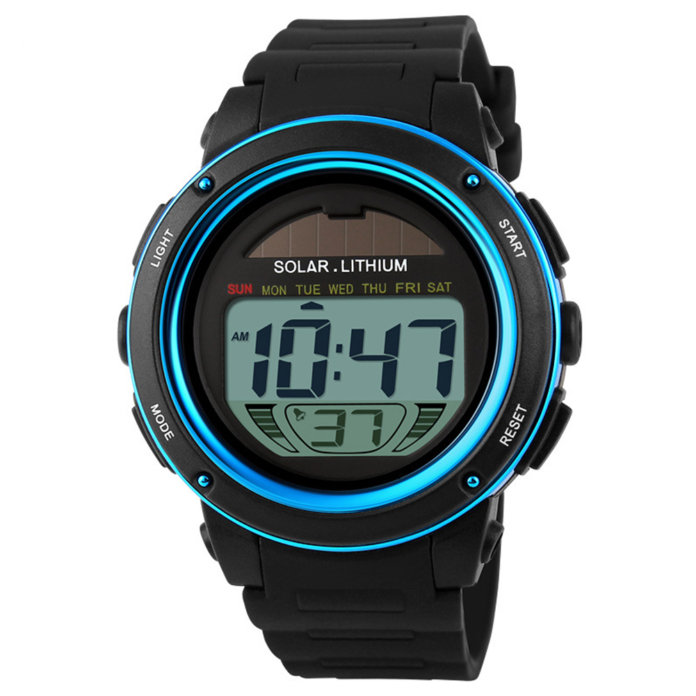 Men Stylish Solar-powered Electronic Luminous Watch Waterproof Sport Wristwatch Ornament Gift blue